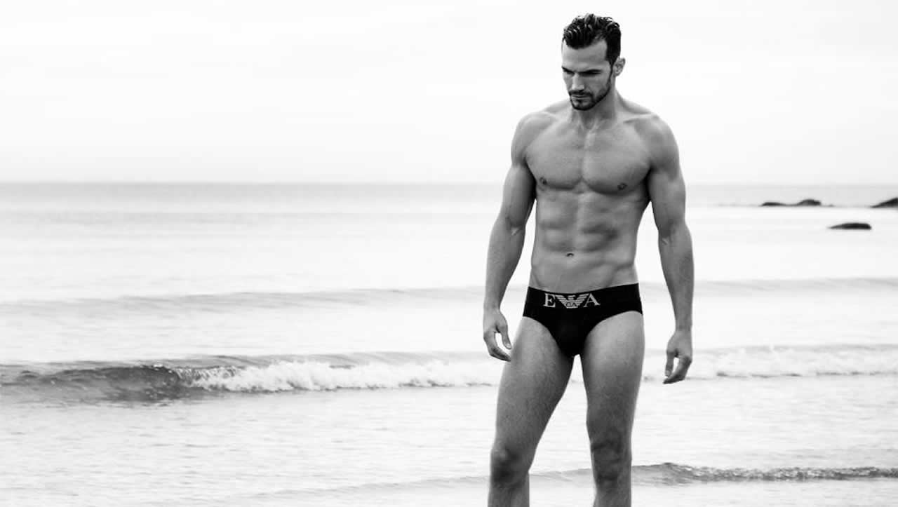 Black and White Muscular Guy in Emporio Armani Briefs at the Edge of the Ocean