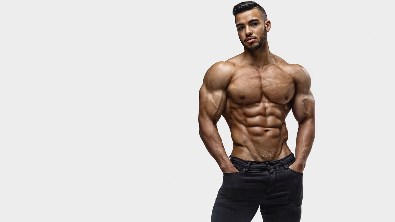 Shirtless Bodybuilder in Black Jeans