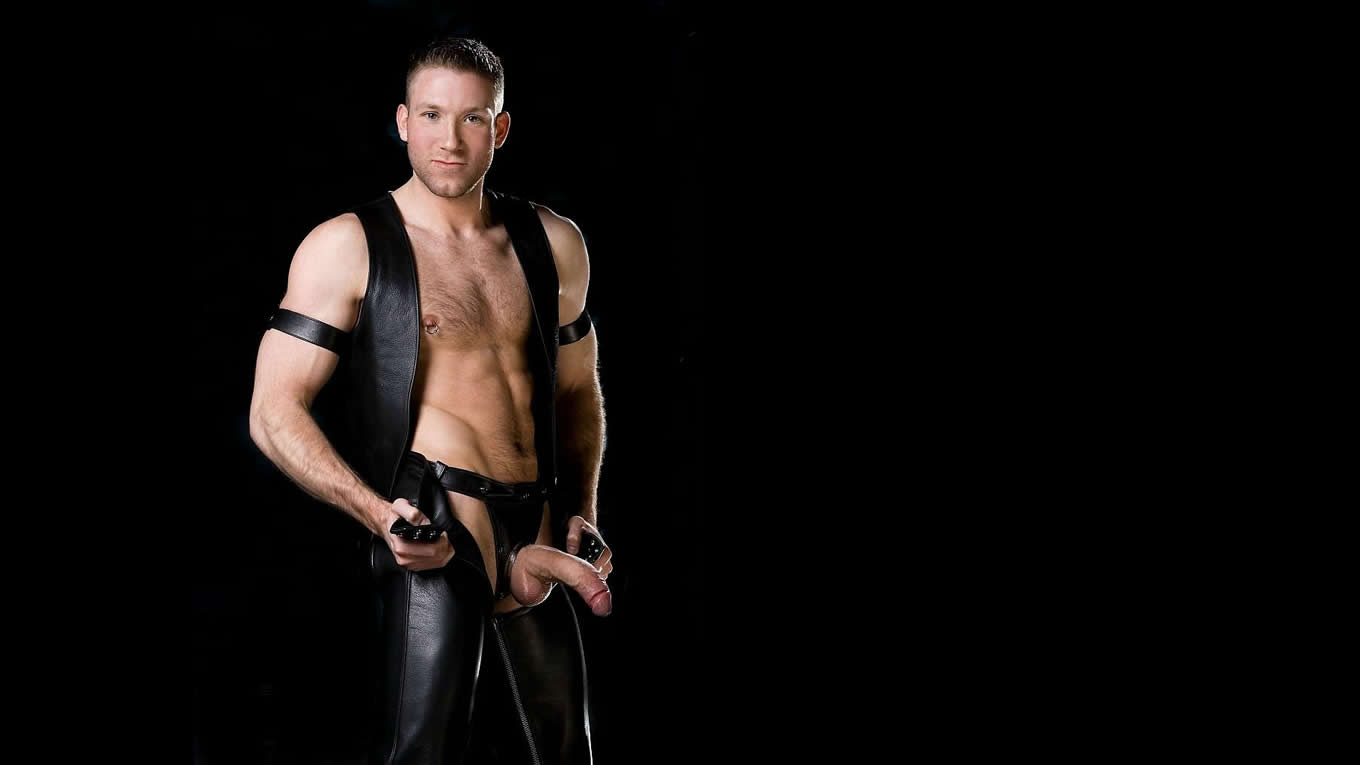 Young Hunk in Black Leather Vest and Chaps with Thick Hard Cock