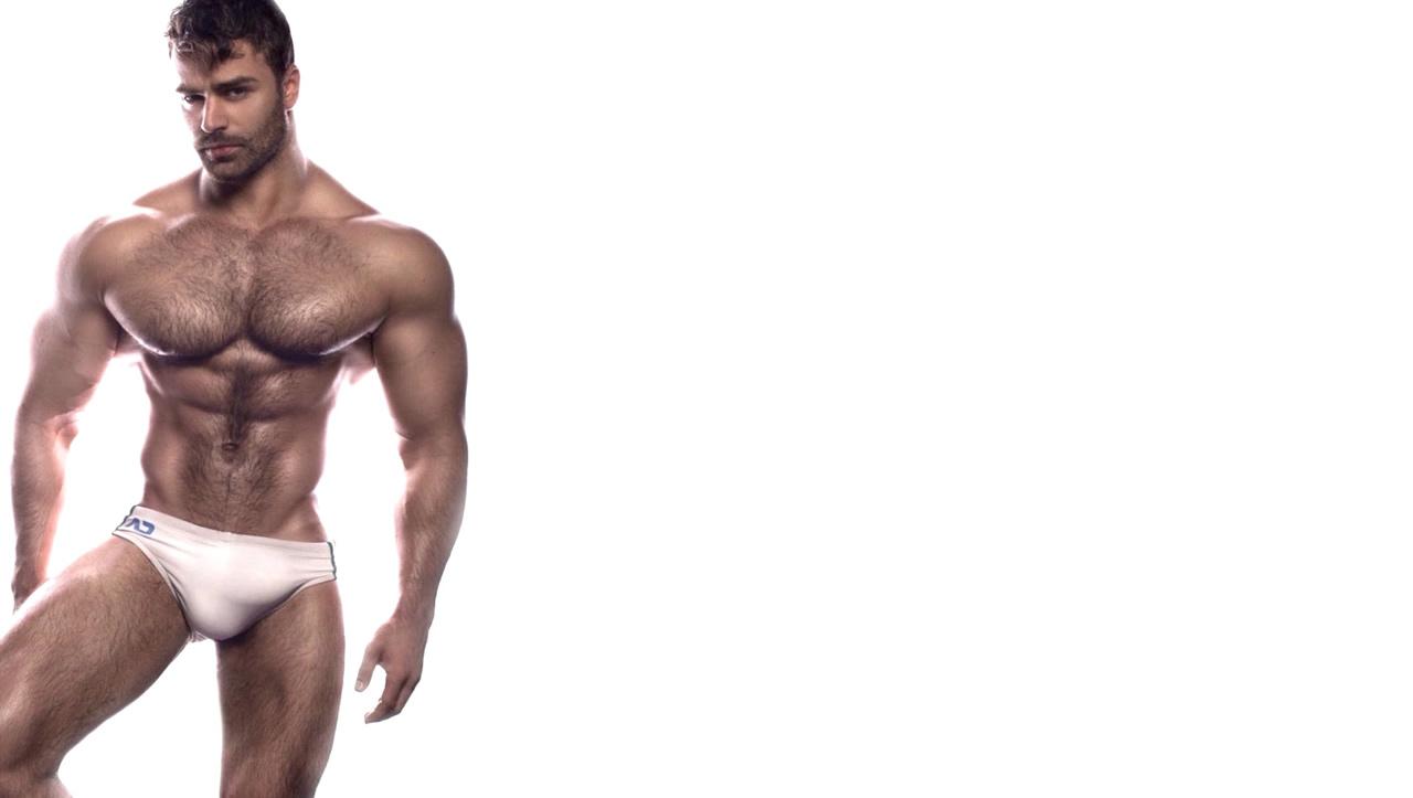 Bodybuilder in White Bikini