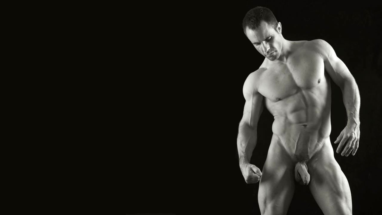 Black and White Full-Frontal Muscular Stud