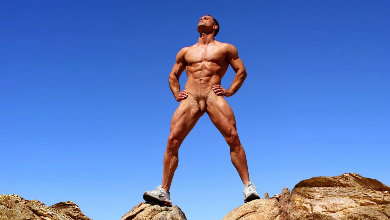 Full-Frontal Muscular Hunk on Rocks