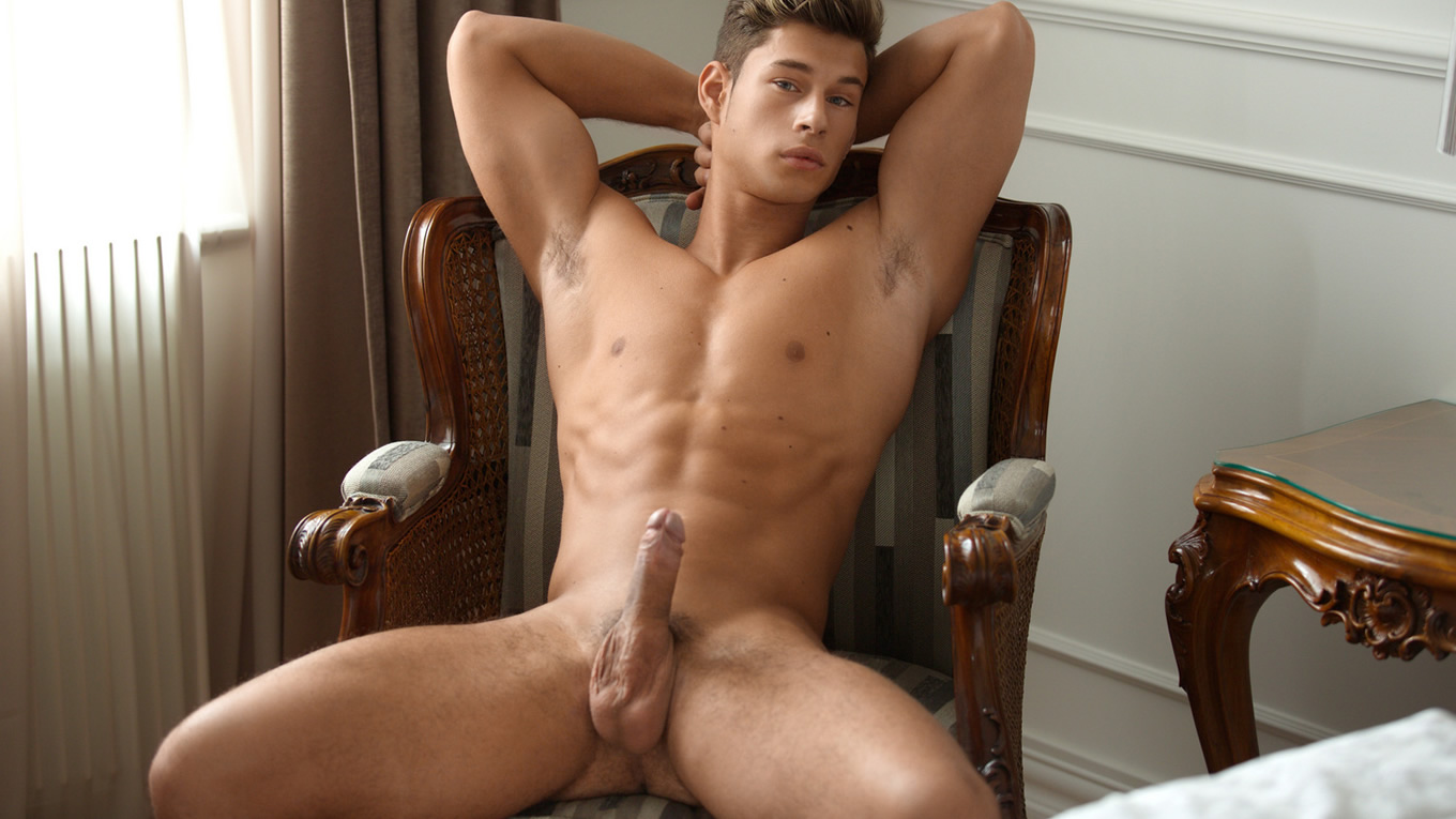 Full-Frontal Muscular Young Guy with Hardon