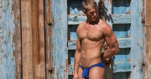 Muscular Guy with Massive Bulge in Blue Bikini