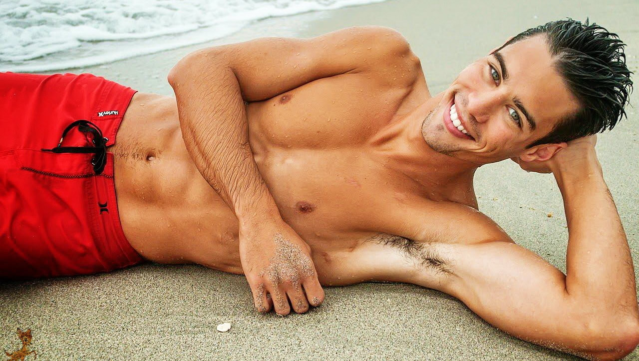 Fit Young Guy Shirtless at the Beach