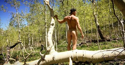Rearview Muscular Young Guy Naked in the Woods