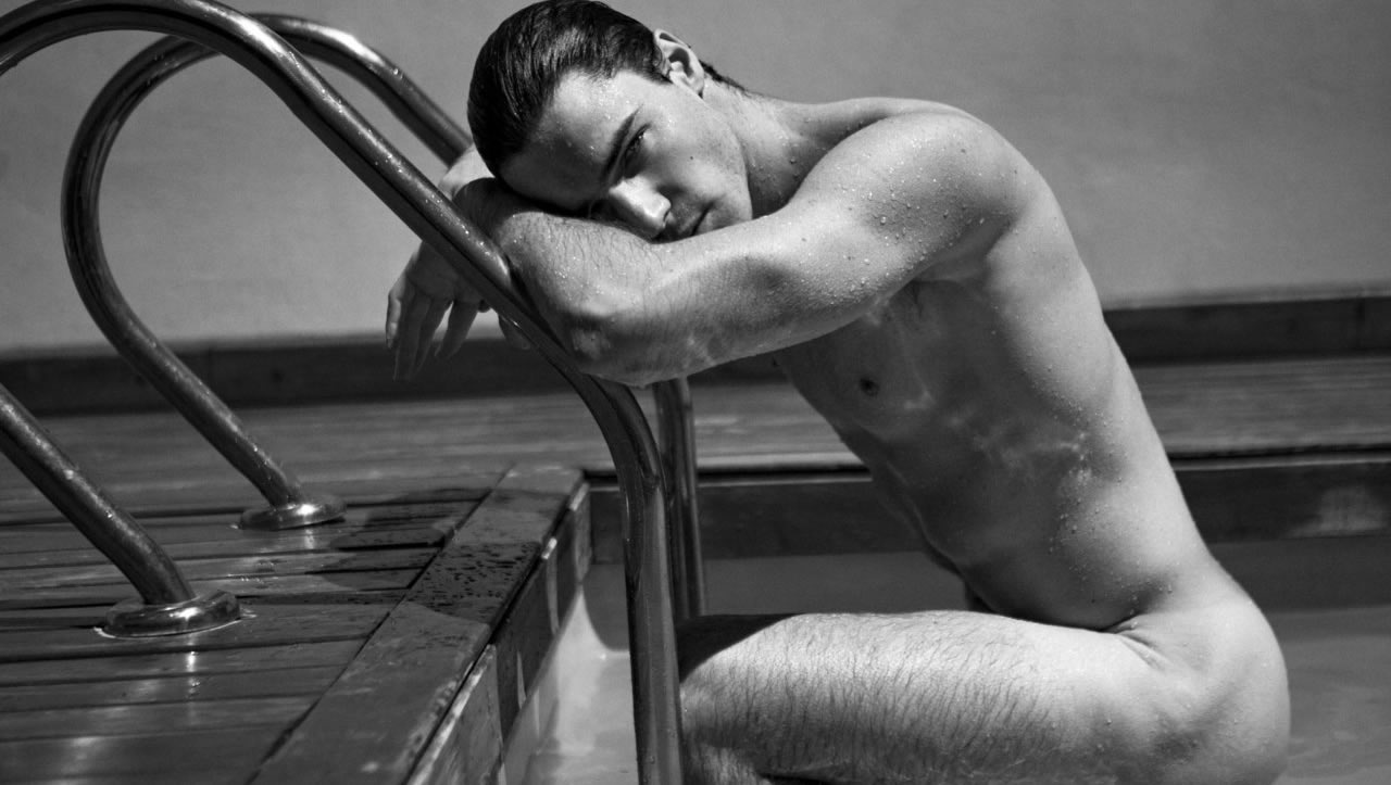 Black and White Naked Guy in the Pool