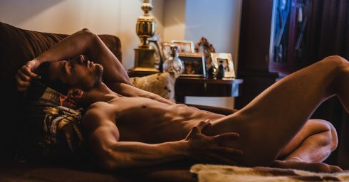 Fit Hunk Nude Laying on a Sofa
