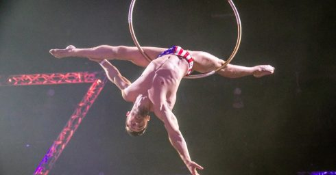 Acrobat with Big Bulge in Stars and Stripes Bikini