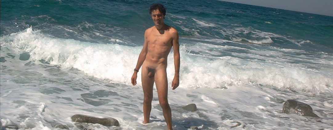 Full-Frontal Fit Guy Naked at the Edge of the Ocean