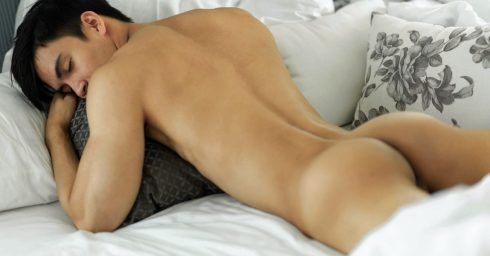 Rearview Fit Young Guy in Bed
