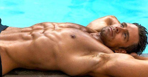 Shirtless Hunk at the Edge of a Pool
