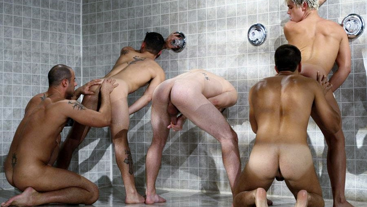 Rearview Five Guys Playing in the Shower