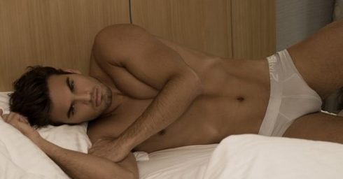 Young Hunk in 2(x)ist Briefs in Bed