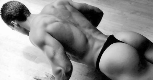 Black and White Bodybuilder in Black Thong Doing Push-ups