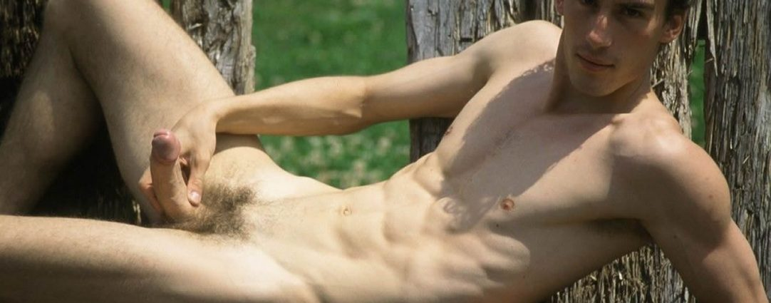 Fit Young Guy Wacking Off Outdoors