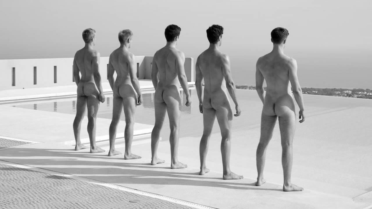 Nude men group naked males