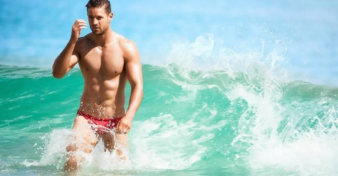 Smooth Hunk Wearing Red Speedo in the Ocean's Waves