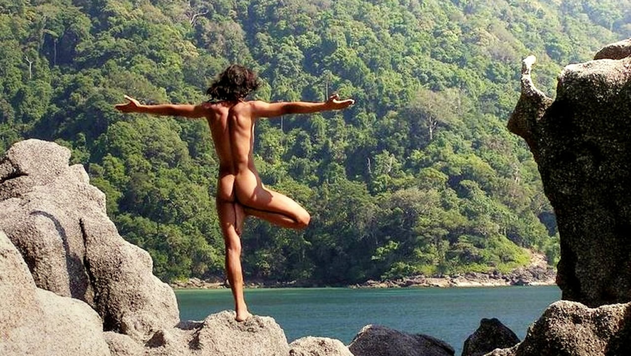 Rearview Outdoor Naked Yoga  Gallery Of Men-6323