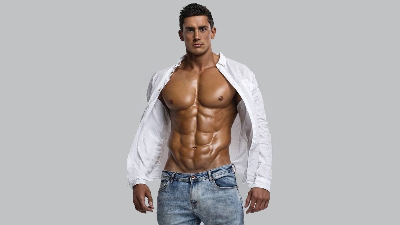 Bodybuilder in Jeans with Open Shirt