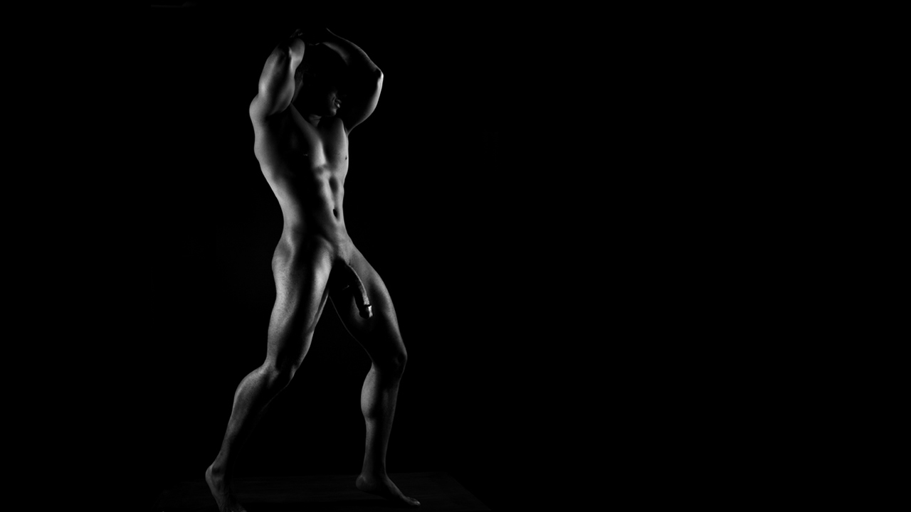 Black and White Full-Frontal Fit Guy with Massive Dick