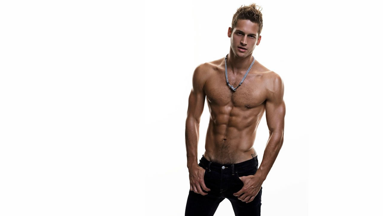 Fit Young Guy Shirtless in Jeans