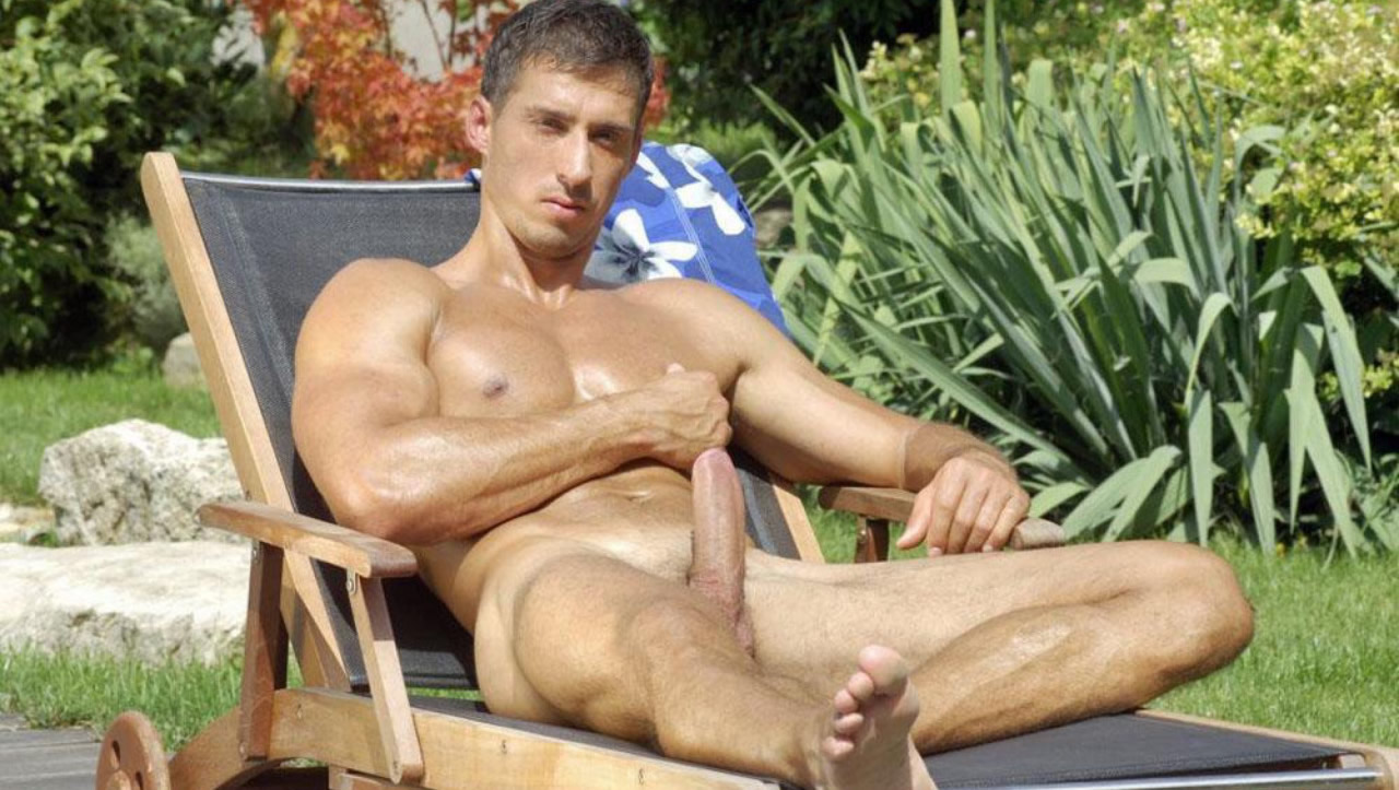 Full-Frontal Stud with Nice Hardon on a Patio