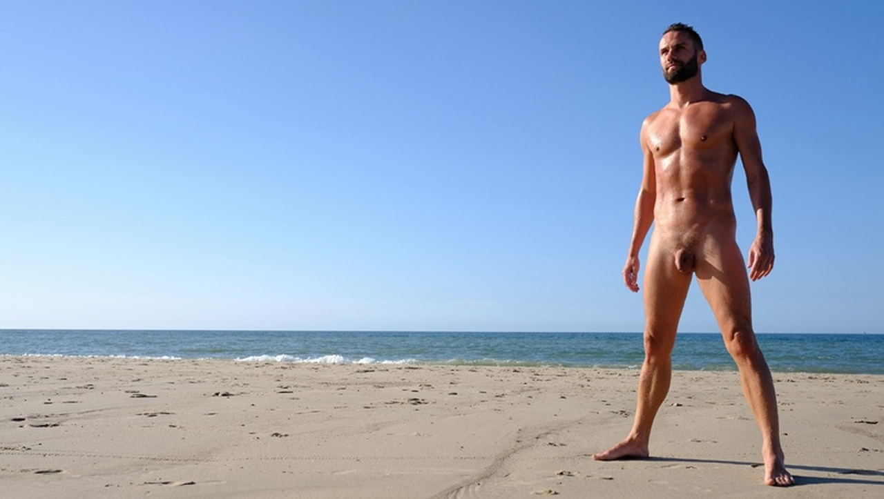 Full-Frontal Athletic Guy at the Beach