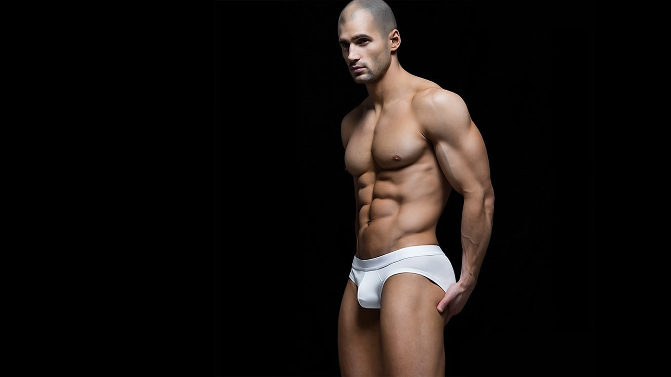 Muscular Stud with Great Bulge in White Briefs