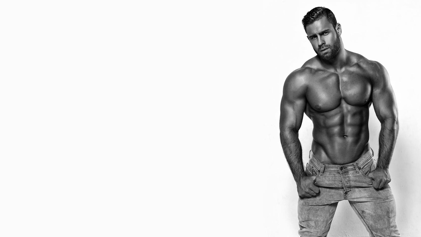 Black and White Shirtless Bodybuilder in Jeans