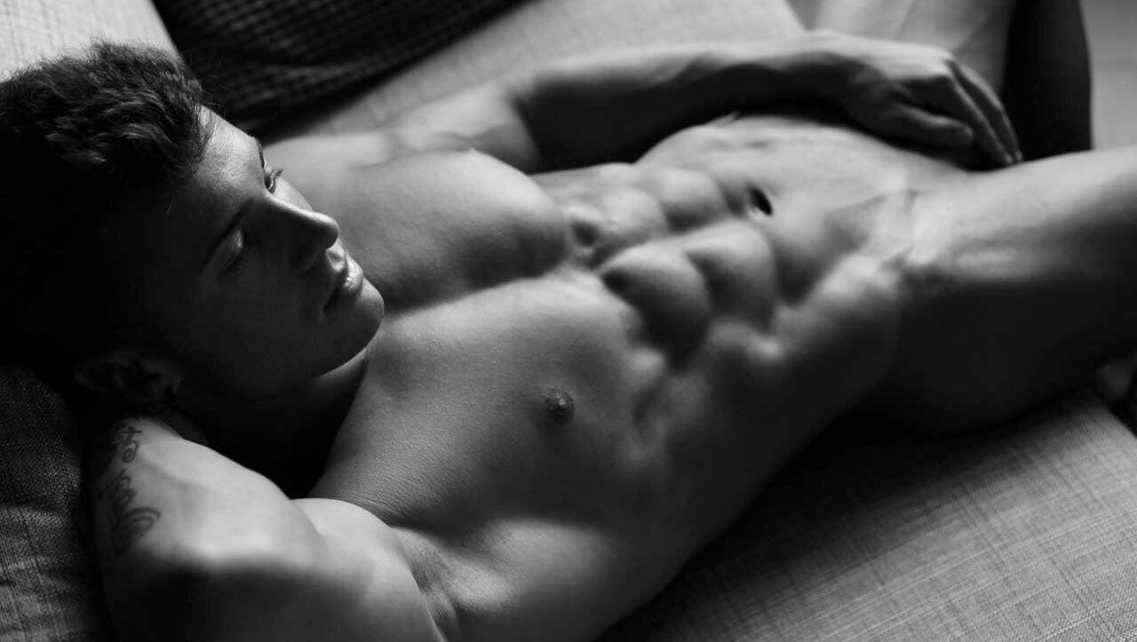 Black and White Athletic Stud with Amazing Abs