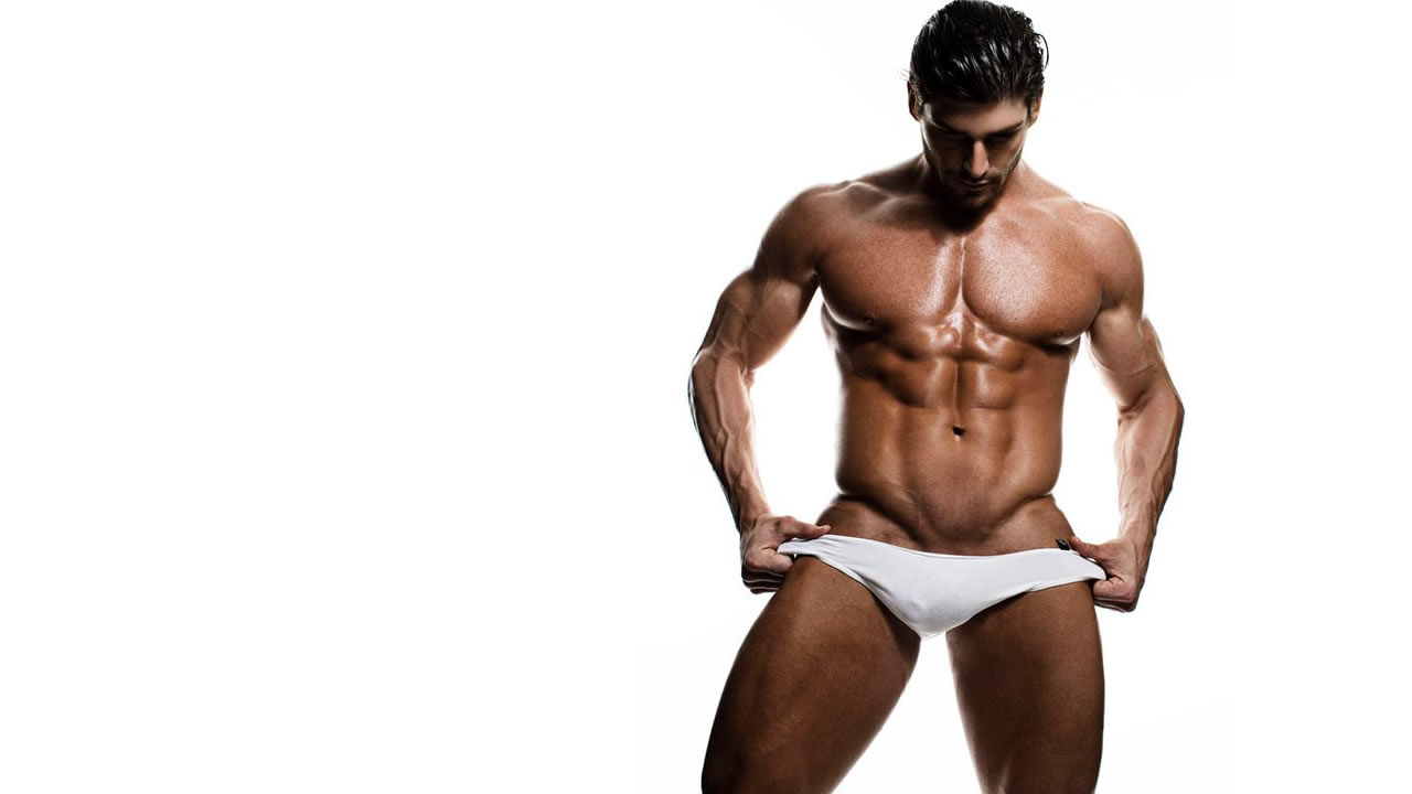 Muscular Hunk in White Bikini
