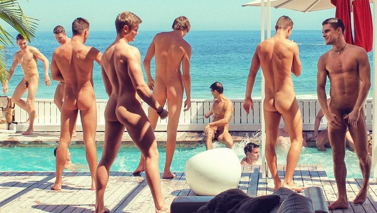 Fit Young Guys Naked at the Pool