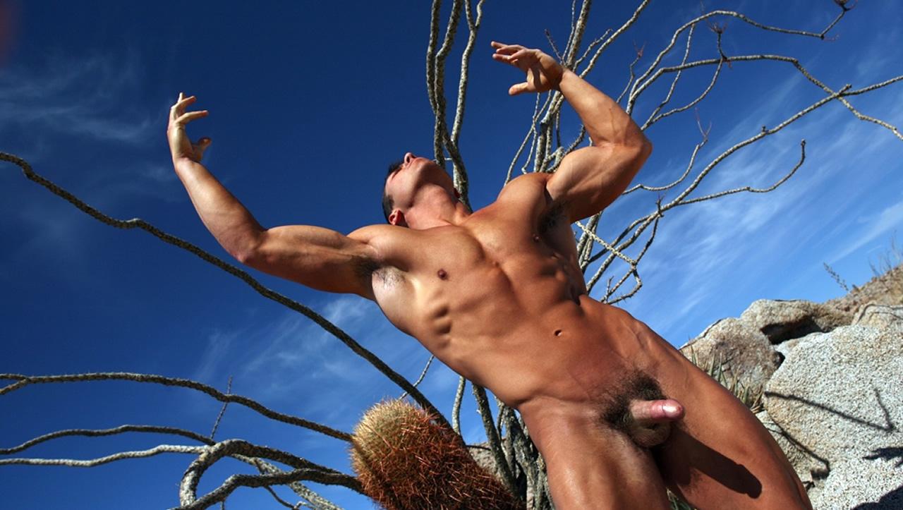 Full-Frontal Muscular Stud in the Desert