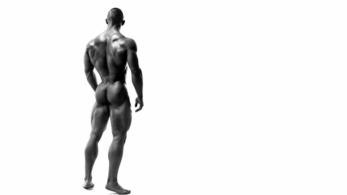 Rearview Black and White Naked Bodybuilder