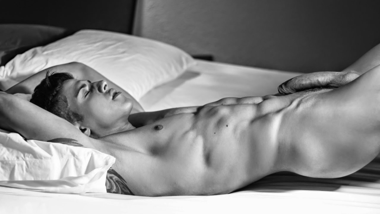Full-Frontal Black and White Athletic Young Guy with a Big Dick in Bed