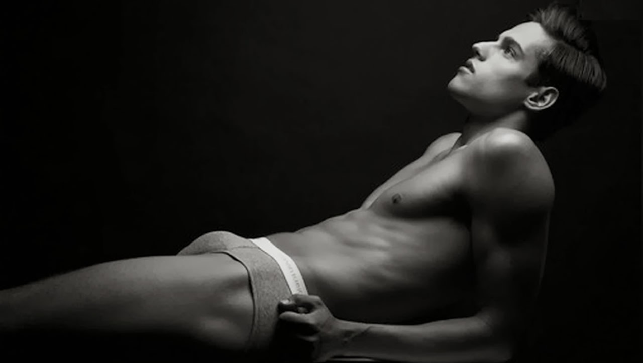 Black and White Fit Guy in Grey Briefs