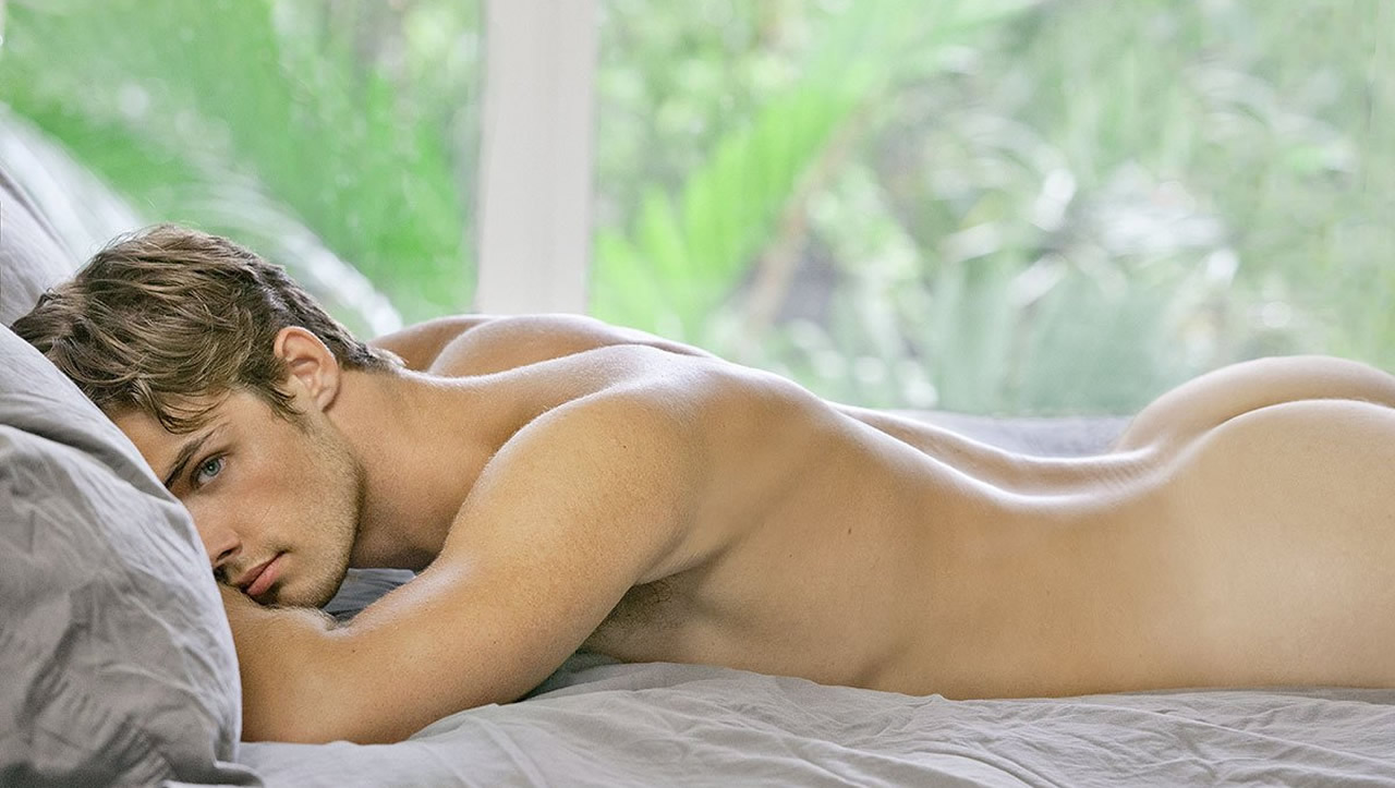 Rearview Fit Young Guy Naked in Bed