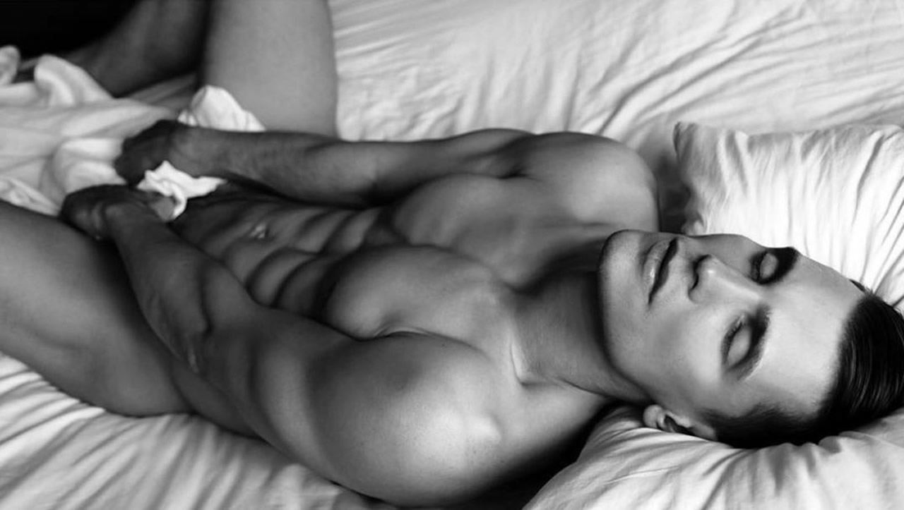 Black and White Ripped Young Guy in Bed