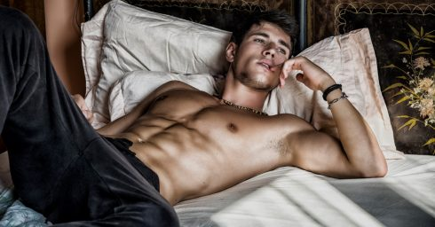 Fit Young Guy Shirtless in Bed