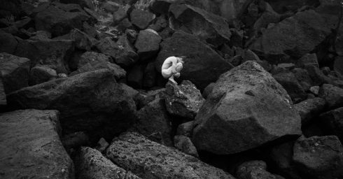 Black and White Artistic Nude on the Rocks