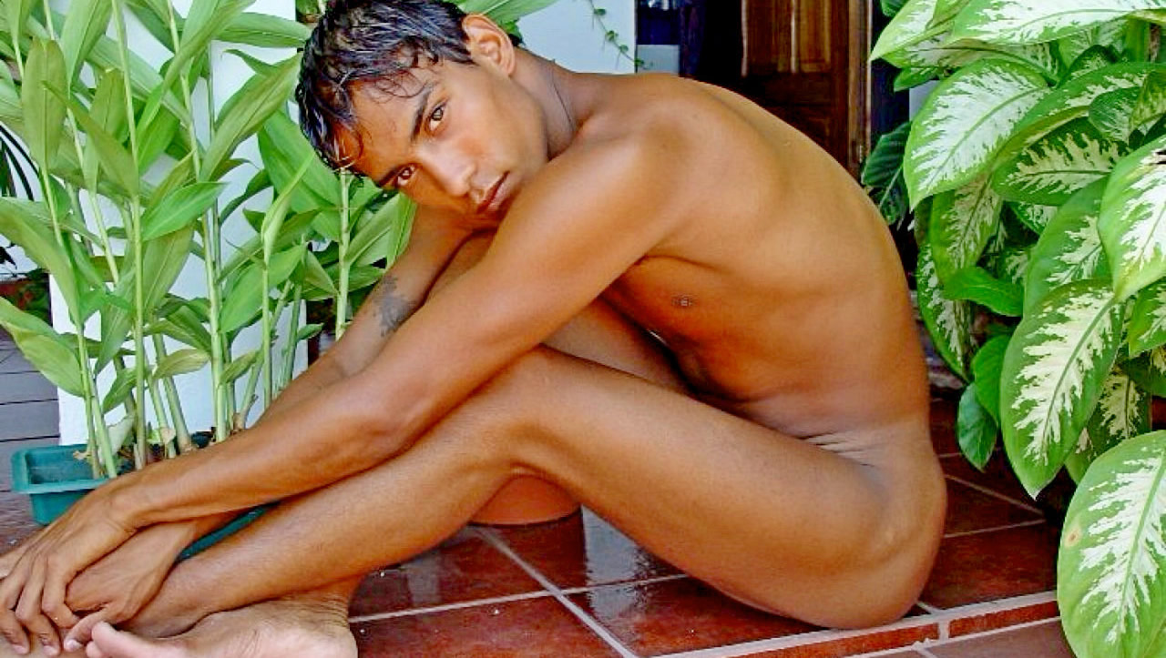 Fit Young Guy Naked on the Patio