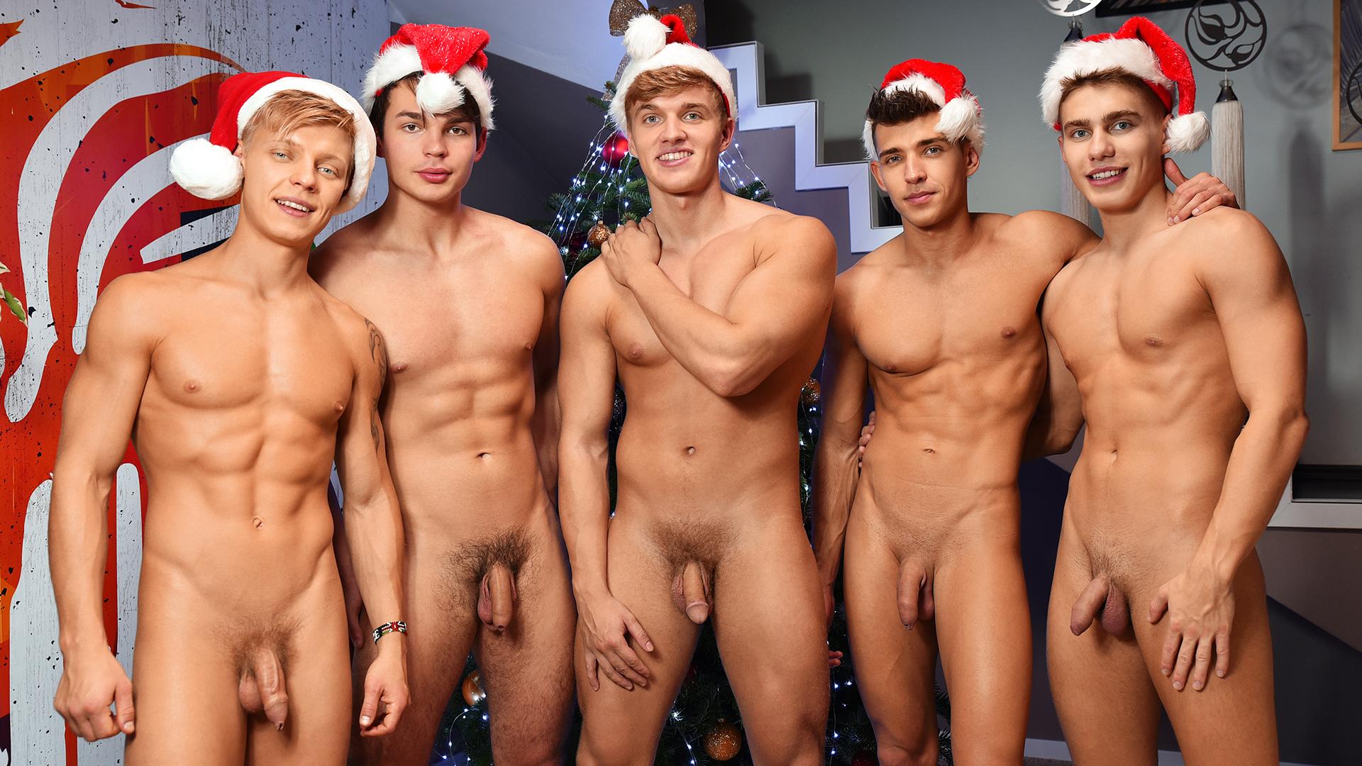 Full-Frontal Five Studs in Santa Hats