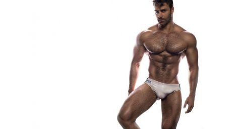 Muscular Hunk in a White Bikini