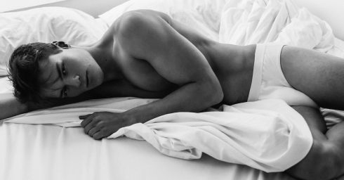 Black and White Young Guy in White Briefs in Bed