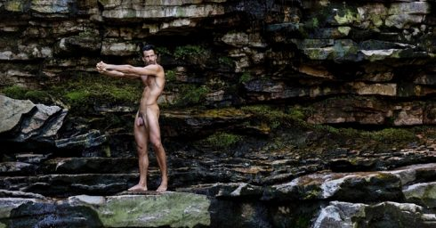 Full-Frontal Fit Hunk on the Rocks