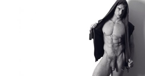 Black and White Full-Frontal Fit Hunk Wearing a Hoodie