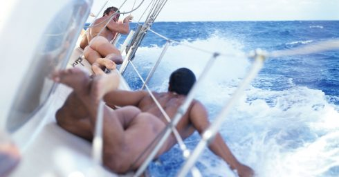 Rearview Two Guys Sailing Naked