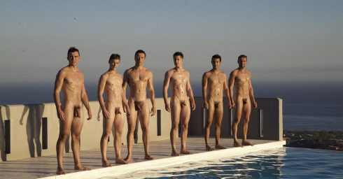 Full-Frontal Six Athletic Guys at the Edge of a Pool