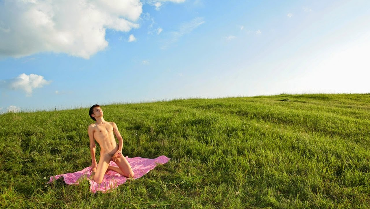 Fit Young Guy Whacking Off in a Field